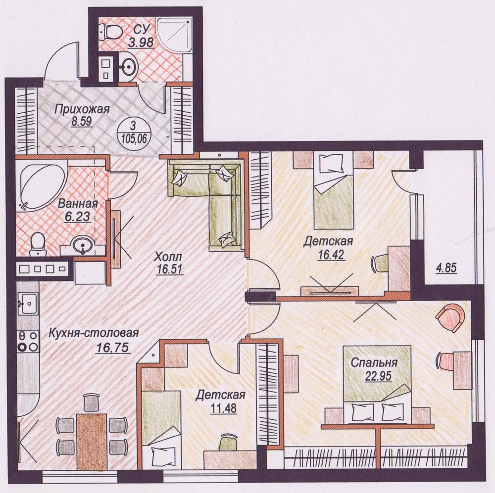 Планировка и дизайн квартир фото 3 комнатные